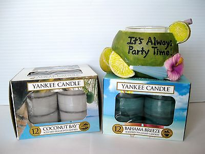"YANKEE CANDLE ""IT'S PARTY TIME"" TIKI HOLDER W/BAHAMA BREEZE & COCONUT BAY T/L'S"