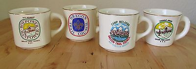 Lot Of 4 Historic BSA Vintage Oregon Trail Council Boy Cub Scouts Coffee Cup Mug