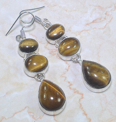 "ARTISAN FACETED  NATURAL TIGERS EYE STERLING SILVER 925  EARRINGS  2 1/2"" 15 GR"