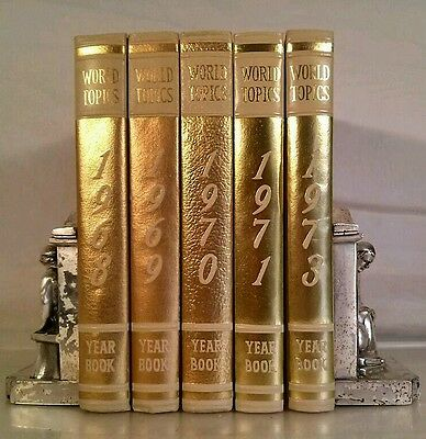 1968 WORLD TOPICS~Vintage GOLD 5 Book Lot~Instant Library~Old Decor Set~Binding