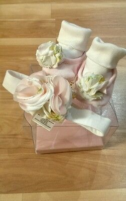 Baby Girl JUICY COUTURE SOCK BOOTIES AND HEAD BAND PINK FLOWERS NEW