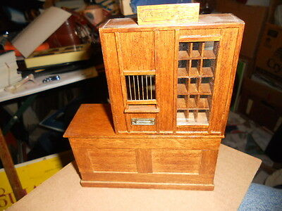 Vintage Dollhouse Miniature Wooden U.S. Post Office Counter 1/12