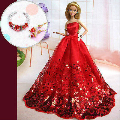 B58 lots of Barbie clothes wedding dress gown jewelry set for barbie doll