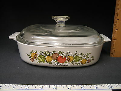 Corning Ware Spice of Life Eight Inch Casserole Dish A-8-B And Glass Lid