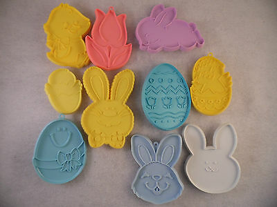 Lot of  Vintage Plastic Cookie Cutters Easter By Hallmark Chick Rabbit Tulip