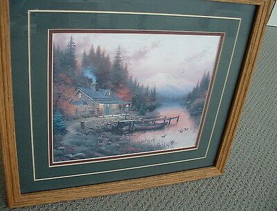 THOMAS KINKADE END OF A PERFECT DAY Framed Double Mat Wall Hanging Picture 1994