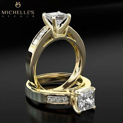 1.6 CARAT D VS SOLITAIRE W/ SIDE STONES DIAMOND PROMISE RING YELLOW GOLD