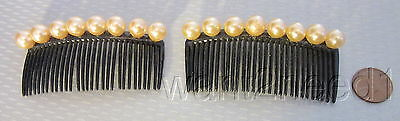 vtg TILCO MADE USA black plastic & faux pearl PAIR HAIR SIDE COMBS 2 decorative
