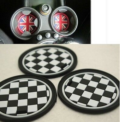 3Pcs Checkered Racing Anti-Slip Cup Mat Pad For Mini Cooper JCW R55 R56 R57 R58