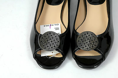 COLE HAAN Shoes Black Patent Leather Open Toe Medallian Size 6 Silver Toe