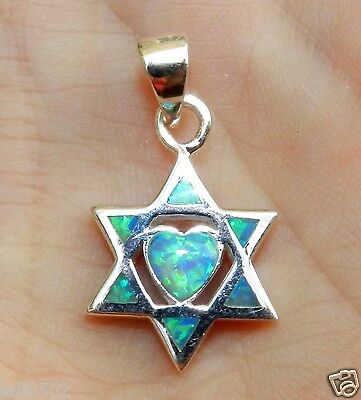 2.8g Blue Fire Opal Solid 925 Sterling Silver Star of David & Heart Pendant