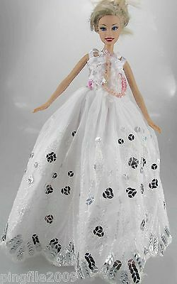 Fashion New Handmade Wedding Dress Clothes Outfits For Barbie Doll #802