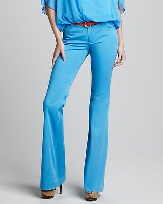 Nwt $198 Alice + Olivia Stacey Bell Stretch Flare Pants Trousers ~Blue *4