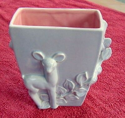 VINTAGE RED WING BEAUTIFUL BLUE AND PINK PLANTER / VASE~ DEER WITH ENCIRCLING