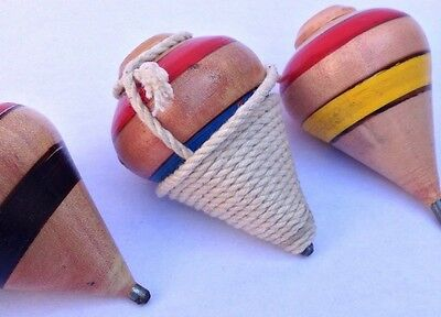 2X Mini Wood Spinning Tops, El Salvador hand made trompo with rope Boys & Girls