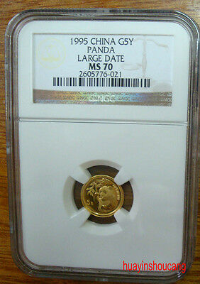 1995 G5Y 1/20oz China large date gold panda coin NGC MS70 Ultra Cameo
