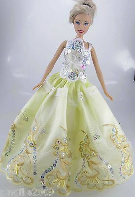 Fashion New Handmade Wedding Dress Clothes Outfits For Barbie Doll #814