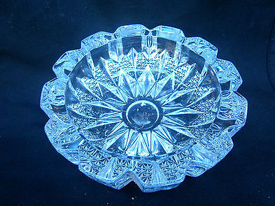 HEAVY  VINTAGE  CUT  GLASS  BOWL  16cm. WIDE AND WEIGHING 1kg.