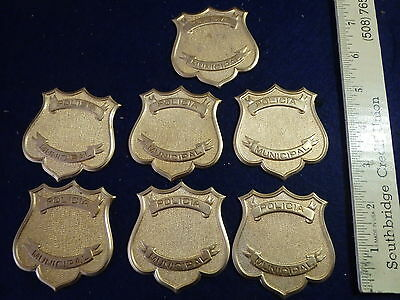 POLICIA   MUNICIPAL  7 UNFINISHED  BRASS BADGE BLANKS   OBSOLETE BX 0 #14