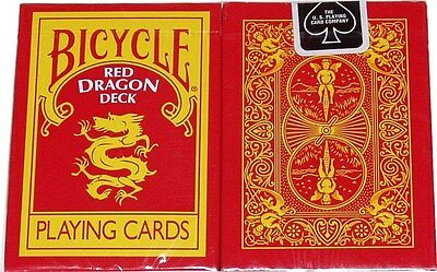 Red Dragon Bicycle Deck Of Playing Cards By Magic Makers Poker Size Tricks Gaff