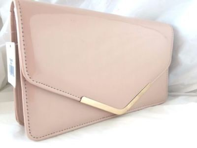 New Nude Faux Patent Leather Evening Clutch Bag Day Shoulder Wedding Prom Club