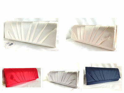 New Satin Nude Champagne Silver Ivory White Red Navy Blue Evening Clutch Bag