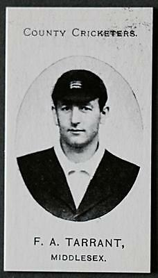1907 cricket photo card - F. A. Tarrant - Middlesex. Mint condition