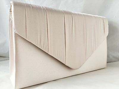 New Satin Nude Champagne Evening Clutch Bag Day Shoulder  Wedding Prom Party