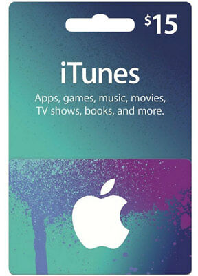 $15 iTUNES iPhone GIFT CERTIFICATE CARD Geschenkkarte APPLE iPod US Region Key