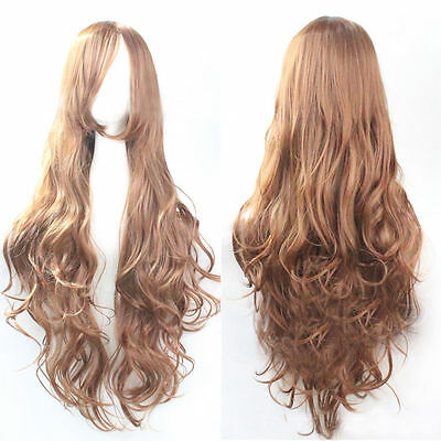 Womens Fashion Europe Long Curly Light Brown 80cm Wavy Wig Wigs Cosplay Party
