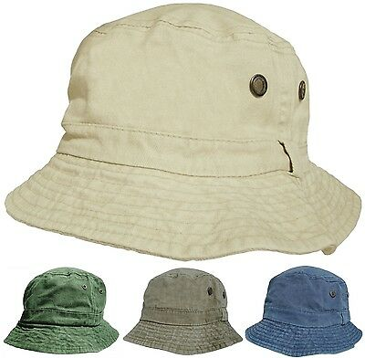 Mens or Womens 100% Cotton Bucket Hats Pre Washed Faded Look Bush Hat Sun Cap