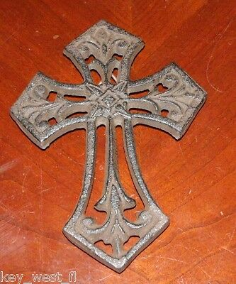 "Cast Iron Cross Wall Hanging ~ Antiqued Rust Finish { 5 1/2"" Tall } ~ by PLD"
