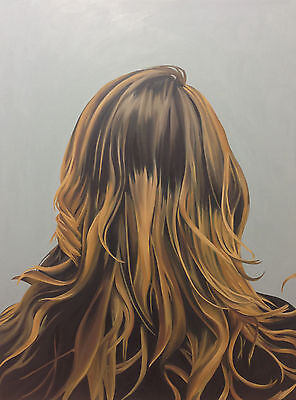 Small Matted Print of ORIGINAL OIL PAINTING Blonde Long Hair Realism Portrait