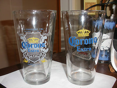 2 vintage corona extra mexico beer glasses neat graphics