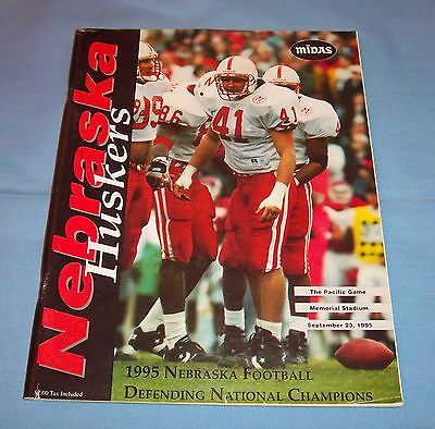 Nebraska Huskers vs Pacific Game Program Magazine 1995 National Champions Ellis