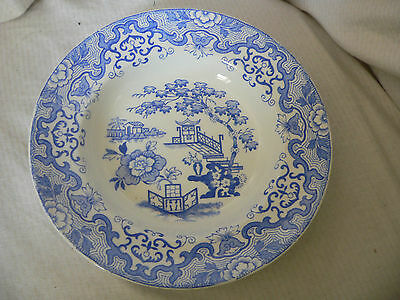 Liverpool Pottery, China Soup Plate, Blue & White, Japanese Garden Design