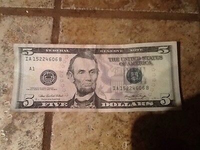 $ 5 US Paper Money Bill Dollars Federal Reserve Notes Cash Banknote Circulated