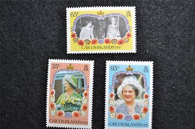 Caicos Islands 1985 Queen Mother Birthday Set S74-76 Mnh