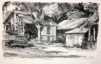 "Frank Stack Signed ""Back Drive"" Etching (Robert Crumb contemporary)"