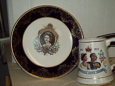 "1977 Queen Elizabeth Silver Jubliee Weatherby Hanely  Plate 6-1/2"" & Cup England"