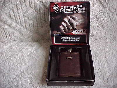 WHISKEY FLASK WITH LEATHER WRAP  NEVER USED COPENHAGEN PROMO