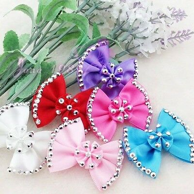 6/12pc bow tie and Diamond Ribbon flower Appliques Craft Wedding Lots Upick