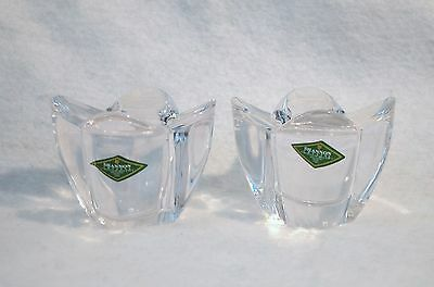 Pair of Shannon Handcrafted Crystal Votive / Tea Candle Holders - Set of 2