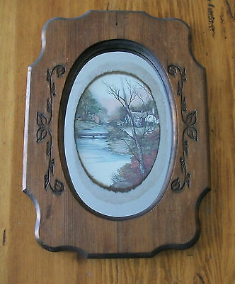 ANTIQUE Handmade Wooden Frame MIRROR INSET Antique Picture ENGRAVING