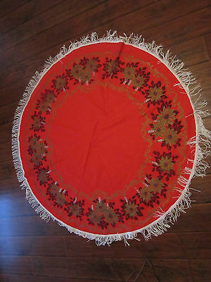 """Vintage RED & GOLD Christmas Fringed Tablecloth Poinsettias 63"""" Diameter"""