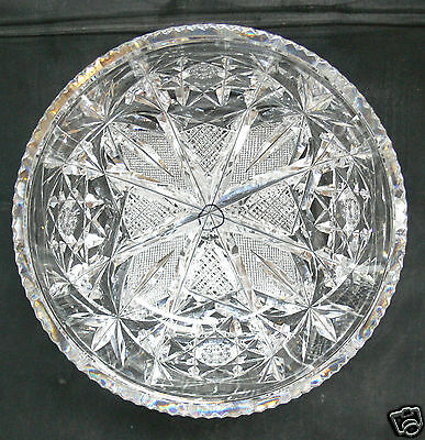 ABP CUT GLASS VERY FINE SIGNED HAWKES HEAVY AND DEEPLY CUT BOWL