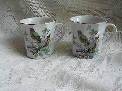 Vintage Pair Bird Coffee Cups- Made in Japan - Octagonal Gold Rimmed