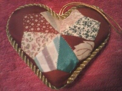 Red And Gold Decorative Hanging Heart Pillow With Patches