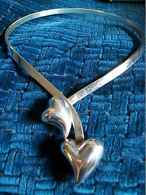 Vintage 1970s Heart Modernist Sterling Silver 925 Choker Necklace Mexico Taxco