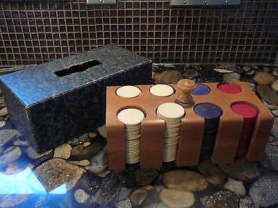 VINTAGE WOOD POKER CHIP CADDY WITH COVER RED, WHITE, BLUE POKER CHIPS